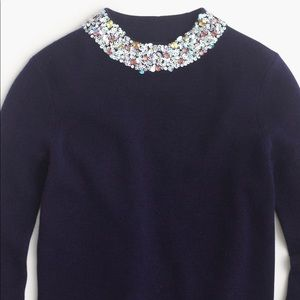 JCREW NAVY WOOL SWEATER WITH EMBELLISHED COLLAR